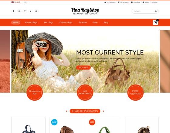 Vina BagShop - Responsive Handbags Store Joomla Template