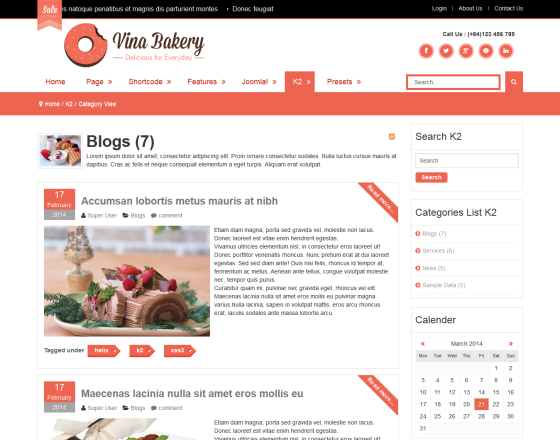 Vina Bakery II - Flexibility and Responsive Joomla Template