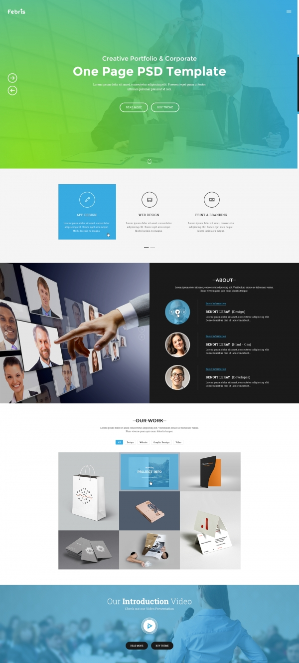 Vina Febris - Porfolio, Corporate One Page Joomla Template