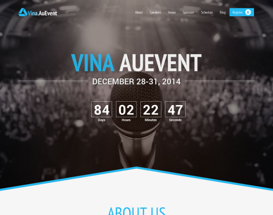 Vina AuEvent One Page Event And Conference Template - Event website template