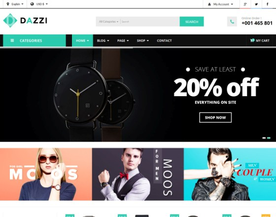Vina Dazzi - VirtueMart Template for Watches Store