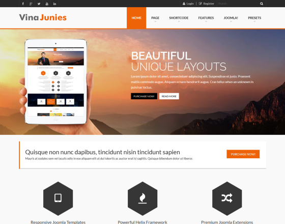 Vina Junies Responsive Corporate Joomla 3x Template