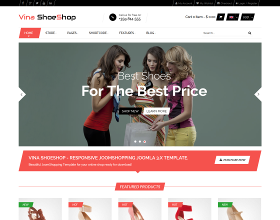 Vina Shoeshop Responsive Joomla 3x Joomshopping Template