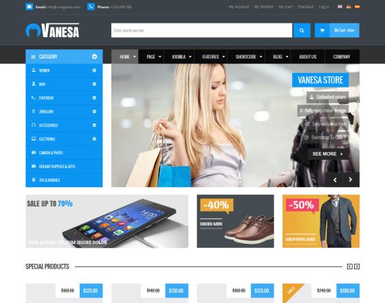 Vina Vanesa Mega Store Responsive Joomla Template