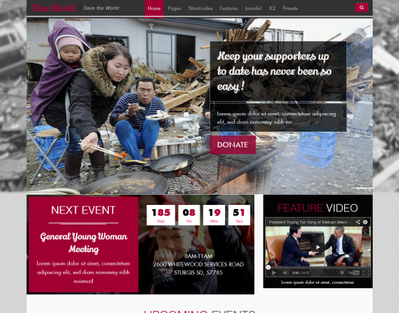 Vina World II - Free Charity & Nonprofit Joomla Template