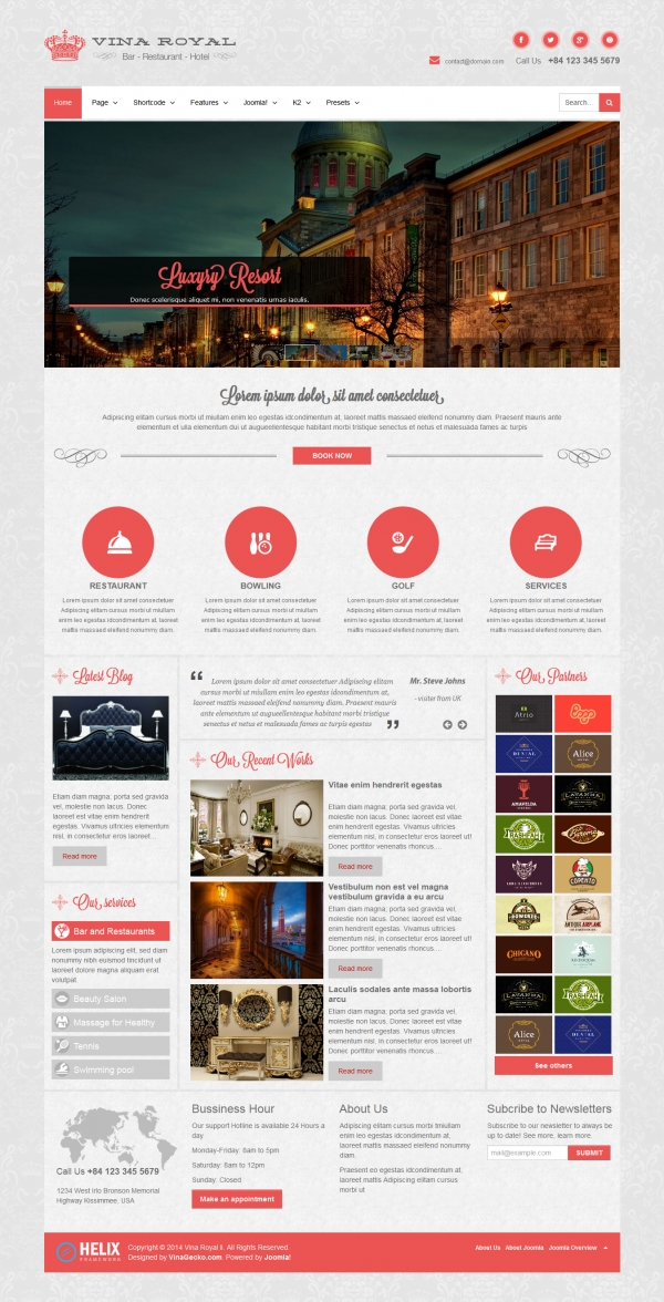 Free joomla 3 templates vina royal ii responsive portfolio amp business template friedricerecipe Image collections