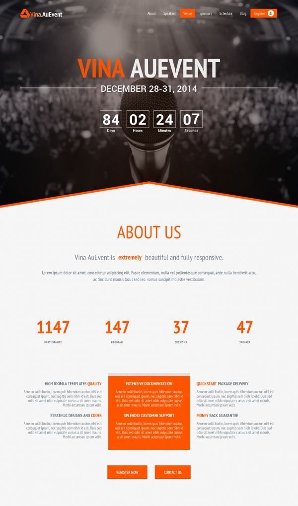 Vina AuEvent - One Page Event and Conference Template
